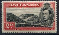 Изображение Вознесения о-в 1938-53 гг.  Gb# 41c  • Георг VI основной выпуск • 2d. Гора Зеленая.. перф. - 13,5 XF