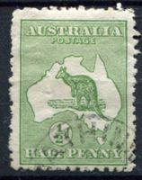 Изображение Австралия 1913-14 гг.  Gb# 1  • 1/2d. Кенгуру на карте •   VF ( кат.- £5 )