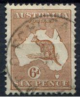 Image de Австралия 1923-14 гг. Gb# 73 • 6d. Кенгуру на карте • Used XF