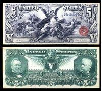 Picture of США 1896 г. P# 337 • 5 долларов. Генералы Грант и Шеридан • казначейский выпуск • копия • UNC пресс