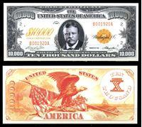Изображение США 1920 г. P# • 10000 долларов. Рузвельт • игровые деньги • UNC пресс
