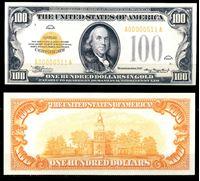 Изображение США 1934 г. P# 408 • 100 долларов. золотой сертификат • регулярный выпуск • копия • UNC пресс