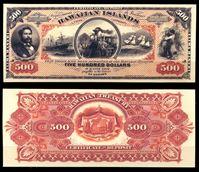 Image de Гаваи 1879 г. P# 5 • 500 долларов. Калакауа Первый. • казначейский выпуск • копия • UNC пресс