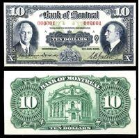 Изображение Канада 1935 г. P# S559 • Банк Монреаля • 10 долларов • регулярный выпуск • копия • UNC пресс