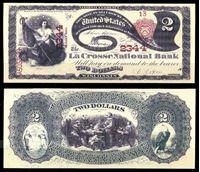Bild von США штат Висконсин 1875 г. • Ла-Кросс • Национальный Банк • 2 доллара • копия • UNC пресс