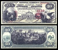 Image de США штат Огайо 1875 г. • Колумбус • Национальный Банк • 10 долларов • копия • UNC пресс