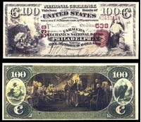 Image de США штат Пенсильвания 1875 г. • Филадельфия • Фермерский Национальный Банк • 100 долларов • копия • UNC пресс