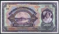 Изображение Чехословакия 1920 г. P# 19s • 5000 крон • регулярный выпуск • образец • UNC пресс