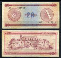 Изображение Куба 1985 г. P# FX5 • 20 песо. Серия A • валютный сертификат • VF