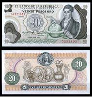 Изображение Колумбия 1983 г. P# 409d • 20 песо • регулярный выпуск • UNC пресс