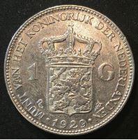 Изображение Нидерланды 1929 г. • KM# 161.1 • 1 гульден • (серебро) • регулярный выпуск • AU