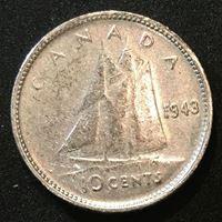 Изображение 1943 г. • KM# 34 • 10 центов • Георг VI (серебро) • XF+