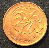 Image de Австралия 1966г.  KM# 63 • 2 цента • Плащеносная ящерица • регулярный выпуск • MS BU ( кат.- $5,00 )