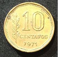 Picture of Аргентина 1971 г. • KM# 66 • 10 сентавос • UNC