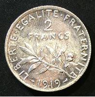 "Bild von Франция 1919 г. • KM# 845.1 • 2 франка • ""Марианна"" (серебро) • регулярный выпуск • MS BU"