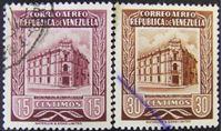 Изображение Венесуэла 1955 г. Mi# 1097,1099 • Авиапочта. Главпочтамт Каракаса • Used VF+ ( кат.- €1 )