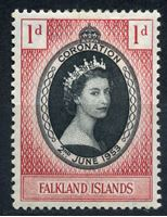Picture of Фолклендские о-ва 1953г. Gb# 186  • 1d. •   Коронация Елизаветы II • MLH OG XF