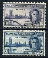 Изображение Фолклендские зависимые территории 1946г. Gb# G17-18  • 1 - 3d. •   выпуск Победы • Used XF / полн. серия