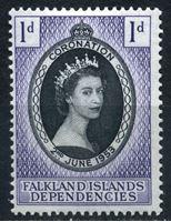 Image de Фолклендские зависимые территории 1953г. Gb# G25  • 1d. •   Коронация Елизаветы II • MLH OG XF