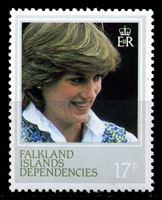 Изображение Фолклендские зависимые территории 1982г. Gb# 1L73a  • 17d. 21-летие Принцессы Дианы. разновидность перф.-14 •  MNH OG XF ( кат.- £10 )