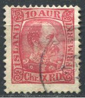 Picture of Исландия  1902-4 гг.  SC# 38  • 10a. Король Дании Кристиан IX •   стандарт • Used VF ( кат.- $1,4 )