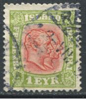 Picture of Исландия  1907-8 гг.  SC# 71  • 1e. Короли Дании Кристиан IX и Фредерик VIII •   стандарт • Used VF ( кат.- $1,4 )