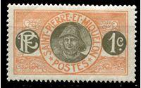 Image de Сен-Пьер и Микелон  1909-30 гг.  SC# 79  • 1 c. Рыболов (осн. выпуск) •  MNH OG XF