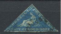 """Изображение Мыс Доброй Надежды 1853 г. Gb# 4a • 4 d. """"Надежда"""". темно-синяя на синеватой бум. • Used F ( кат.- £180 )"""