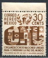 Изображение Мексика 1946г. SC# C158  • 30c. Создание ООН •   авиапочта • MNH OG XF+