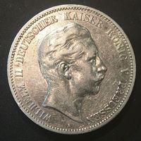 Изображение Германия • Пруссия 1902 г. • KM# 523 • 5 марок • Кайзер Вильгельм II (серебро) • регулярный выпуск • XF+ ( кат.- $100,00 )