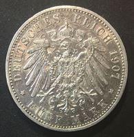 Изображение Германия • Пруссия 1907 г. • KM# 523 • 5 марок • Кайзер Вильгельм II (серебро) • регулярный выпуск • AU ( кат.- $125,00 )