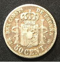 Picture of Испания 1881 г. • KM# 685 • 50 сентимос • Альфонсо XII (серебро) • регулярный выпуск • XF-