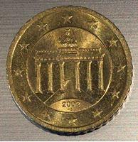 Изображение Германия 2002 г. • KM# 212 • 50 евроцентов • Бранденбургские ворота • регулярный выпуск • MS BU