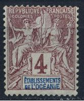 Изображение Океания  1892г. Iv# 3  • 4c. •   стандарт • Mint NG VF ( кат.- €5 )
