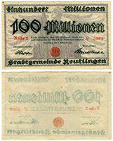 Изображение Германия 1923 г. • Ройтлинген • 100 миллионов марок • AU+