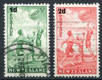 Bild von Новая Зеландия 1939 г. SC# B14-15 • Дети, играющие в баскетбол. надпечатки нов. номиналов • благотворительный выпуск • Used XF • полн. серия ( кат.- $10 )