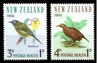 Изображение Новая Зеландия 1966г. SC# B71-2 • Птицы • благотворительный выпуск • MNH OG XF • полн. серия