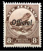 Изображение Новая Зеландия 1936-42 гг. SC# O68B • 8d. ящерица туатара • официальная почта • MLH OG XF ( кат.- $9 )