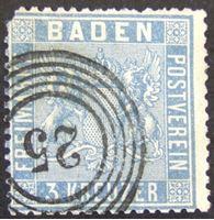 Picture of Баден 1860 г. Mi# 10 • Герб Бадена. 3 кр. • Used VF ( кат.- €30 )