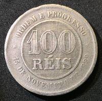 Изображение Бразилия 1889 г. • KM# 492 • 100 рейс • регулярный выпуск • VF