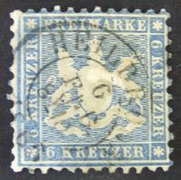 Image de Вюртемберг 1863 г. Mi# 27 • Герб Вюртемберга. 6 кр. • Used XF ( кат.- €70 )