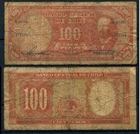 Изображение Чили 1958 г. P# 122 • 100 песо • регулярный выпуск • VG