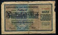 Изображение Бавария 1922 г. P# S925 • 5000 марок • экстр. выпуск • G