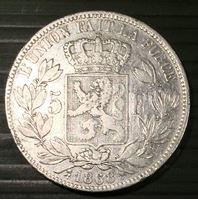 Изображение Бельгия 1868 г. • KM# 24 • 5 франков • Леопольд II (серебро) • XF-AU ( кат.- $100,00 )
