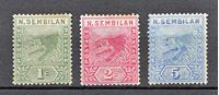 Изображение Малайя • Негри Сембилан 1891-1894 гг. Gb# 2-4 • Тигр • MLH OG F ( кат.- £32 )