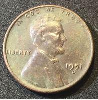 """Изображение США 1951 г. D • KM# 132 • 1 цент • """"пшеничный"""" Линкольн • регулярный выпуск • XF"""