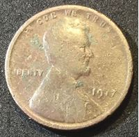 """Изображение США 1917 г. • KM# 132 • 1 цент • """"пшеничный"""" Линкольн • регулярный выпуск • F-"""