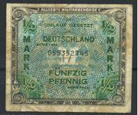 """Image de Германия Оккупация 1944 г. P# 191a • 1/2 марки • буква """"F""""  (оккупация союзных войск) • армейский чек • F- ( кат. - $15 )"""