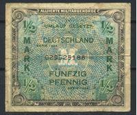 Изображение Германия 3-й рейх 1944 г. P# 191a • 1/2 марки (оккупация союзных войск) • армейский чек • F+