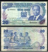 Изображение Кения 1986 г. P# 21e • 20 шиллингов • президент Даниэль Тороитич арап Мои • регулярный выпуск • XF-